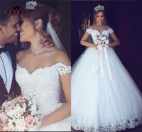 Custom Made A Line Floor Length Lace Tulle Fluffy Elegant Long Formal Wedding Dresses Wedding Gown