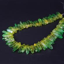 15.5/strand Yellow&Green Gradient Color Titanium Raw Crystal Quartz Top Drilled Point Beads,Cut Crystal Stick Pendants Jewelry