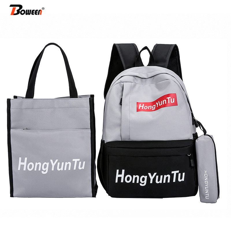 3 Piece Set Women School Backpack Teenage Girls School Bags College Style High Student Schoolbag Nylon Patchwork Bagpack 2019