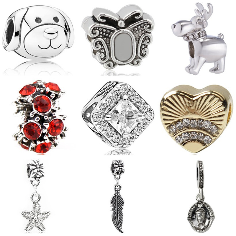 Charms Jewelry Starfish Heart-Bead Butterfly Simple-Style Original Pandora Women Fit