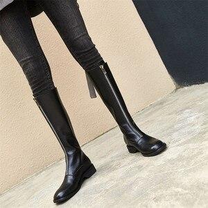 Image 5 - Женские мотоциклетные ботинки FEDONAS, высокие сапоги до колена на низком каблуке с закругленным носком на осень и зиму