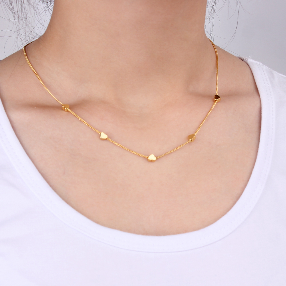 Minimalist Necklace Heart Shape Gold Color Necklace for Women