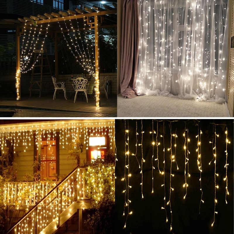 ЕС/США штекер 4,5X3 м 300 светодиодный S светодиодный сосулька гирлянда Рождественские Фонари светодиодный лента Рождественская световая завеса сказочная лампа для свадьбы/вечерние