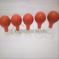 Free Shipping 5 Cups High Quality Medical Glass and Rubber Cupping Suction Cupping Cups Body Massage Cupping Therapy Glass Cup