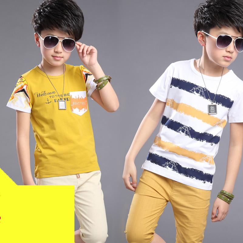T-shirt For Boy 2018 New Style Summer Letter Striped Print T-shirts Shirts Cotton Kids Tops Tee Shirt Garcon T Shirts 10 12 Year letter print striped tee