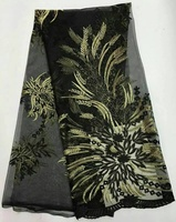 2016 New Arrival new design black color High Quality african  Fabric for party or wedding dress FOR WOMEN XX-3A