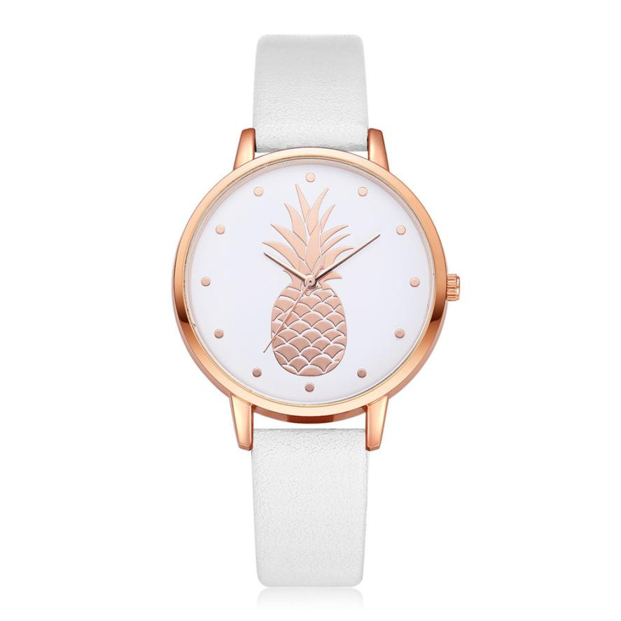 2019 New Women Watch Women's Luxury Fashion Leather Band Analog Quartz Round Wrist Watch Pineapple Pattern Female/Ladies  Watchs