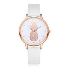 купить 2019 New Women Watch women's Luxury Fashion Leather Band Analog Quartz Round Wrist Watch Pineapple Pattern Female/Ladies  Watchs по цене 227.31 рублей