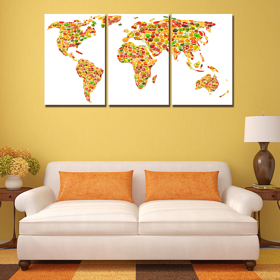 3 Panels Creative Fruit World Map Wall Paintings Decor Modern Canvas ...