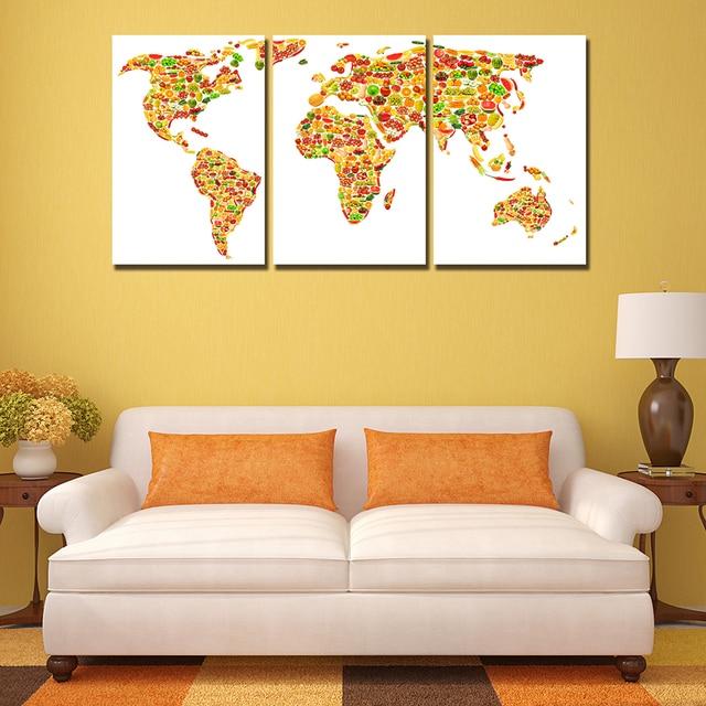 3 Panels Creative Fruit World Map Wall Paintings Decor Modern Canvas ...