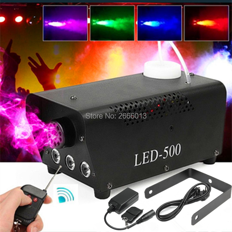 500W LED Wireless Multiple Color Mist Maker/Smoke Machine/ Fogger/ Fog Machine With Remote Control DJ Disco Lights Stage Effect niugul 1500w fog machine smoke machine stage mist effect 110v 240v remote wire control for disco dj party spray up fogger maker