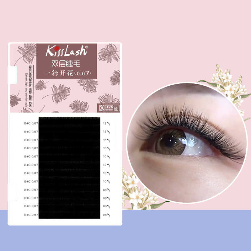 4d8fb82d8ad Kisslash individual lashes double curl and length Faux Mink Fit for volume Eyelash  Extension make up