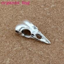3D Skull Bird Head Charms Pendants 50Pcs/lot 14.5x31.5mm Antique Silver Diy Handmade Fashion Zinc Alloy Pendant