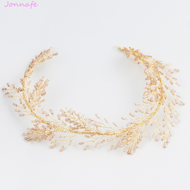 Jonnafe Gold Beaded Hair Ornaments Bridal Headband Tiara Boho Women Headpiece Handmade Hair Jewelry Wedding Accessories недорого