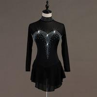 Ice Skating Dress Women Girls Black Long Sleeve Biling Figure Skating Competition Dress Elegant Performance Wear Customized B029
