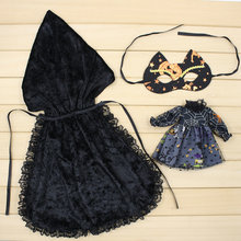 Blyth 1/6 Doll Halloween Black Outfit Cloak and Mask ICY Licca Free Shipping(China)