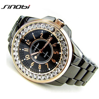 Bling SINOBI Luxury Ceramic Style Diamond Hour Mark Rhinestone Ladies Dress Women Watches Wristwatches Gift Three