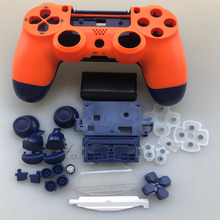 PS4 פרו בקר מלא סט שיכון מקרה מעטפת עבור פלייסטיישן 4 פרו JDM 040 JDS 040 Gen 2th V2 כיסוי כתום כחול עור קיט