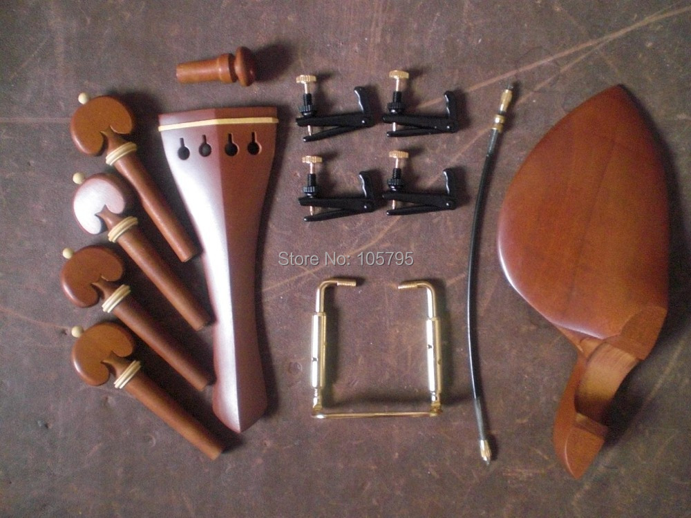 6 Sets Jujube Violin parts 4/4 with Fine tuners and tail gut & chin rest clamp original wittner 4 4 violin composite chin rest with side mount hypoallergenic