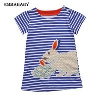 New Lovely Rabbit Pattem Kid Baby Girls Clothing Summer Dresses Navy White Striped Cartoon Tutu Cute