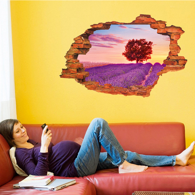 Rural Tree 3D Fake Window Wall Sticker Decal Home Paper Removable ...