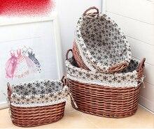 Rattan storage basket dirty clothes debris bucket large rural fabric underwear socks box