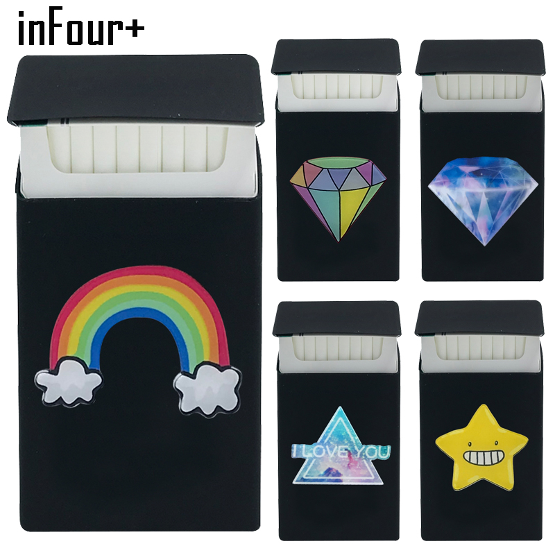 [inFour+] Exclusive Rainbow 3D Slims Silicone Cigarette Case Lady Slim Case Fashion Cover Elastic Rubber Women Cigarette Box