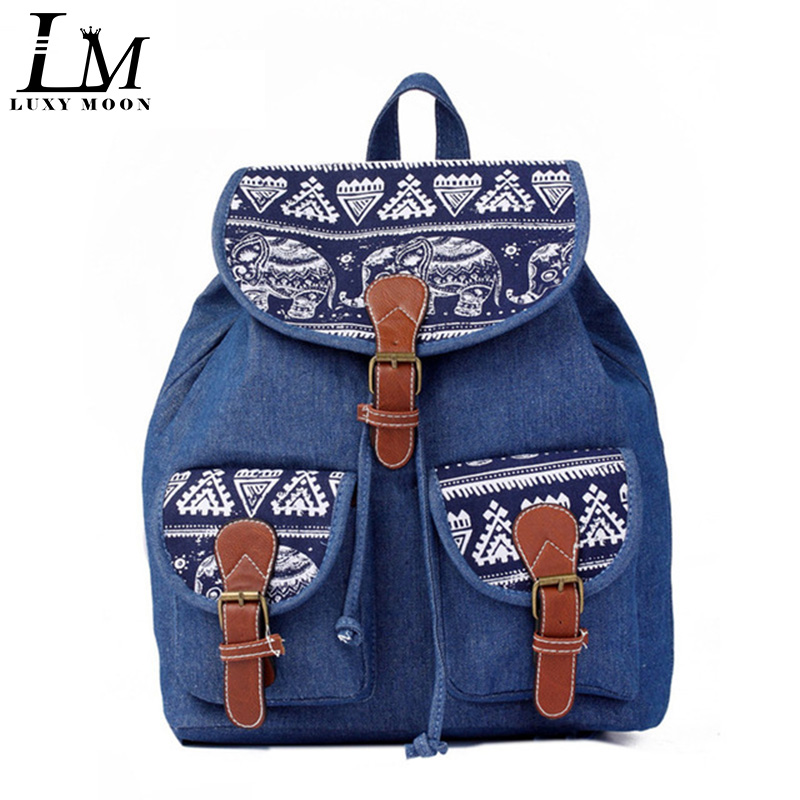 Jeans Rucksack-String Bagpacks Canvas Elephant Vintage School-Bags Travel Teenage-Girls