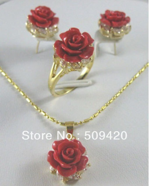 Free Shipping Wholesale>>>new Pretty Red Coral rose Flower Pendant Earring Ring lady's set