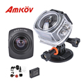 2016 New Arrival  360 Degree Full Visual Angle AMKOV AMK100S 1440P @30FPS Waterpfoor Case Action Sports Camera Recorder