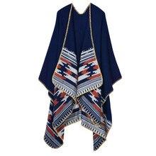 купить Women's  Winter Poncho Ethnic Style Scarf Fashionable Print Blanket carves Lady Knit Shawl Cape Cashmere Scarf Pashmina W035 по цене 979.41 рублей