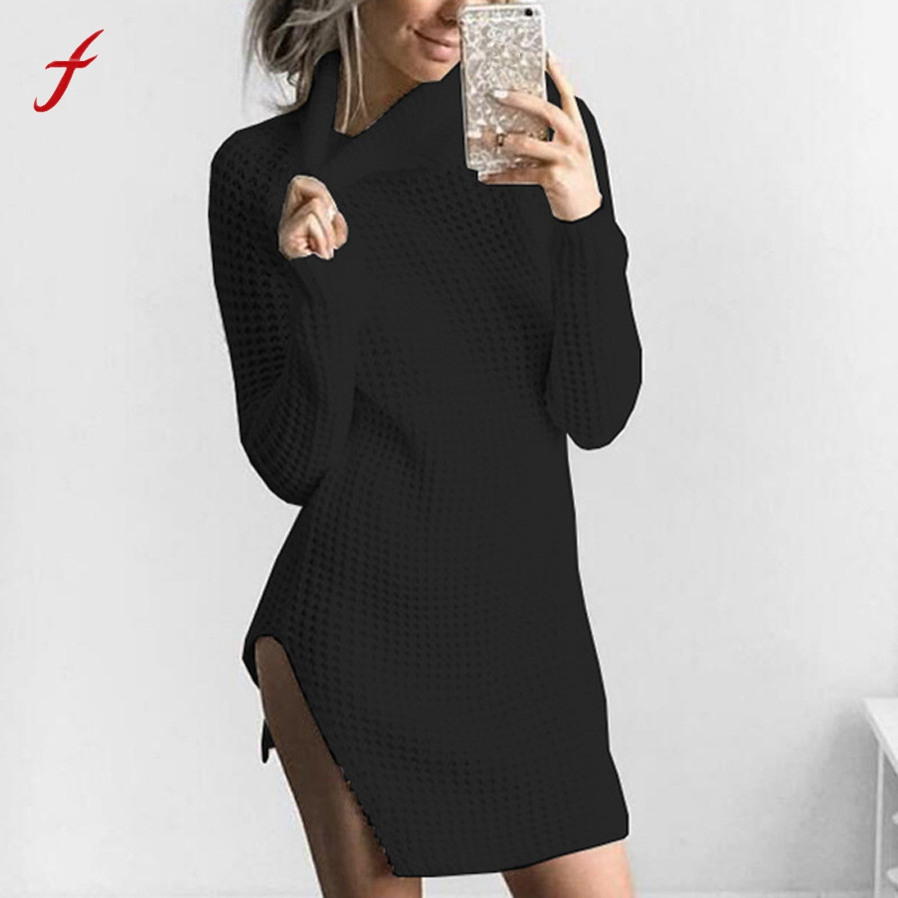 FEITONG Womens Dress Turtleneck Knitted Long Sleeve Bodycon Party Ladies Cocktail Mini dress Autumn Winter Turtleneck Dresses