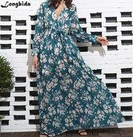 Hot Sale Women 2018 Summer Chiffon Solid Natural Dress Floral Elegant Formal Office Plus Size Beach