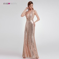 2018 Straight Modern Sequined Evening Dress Ever Pretty EP07109 Women S Sexy Long Deep V Neck