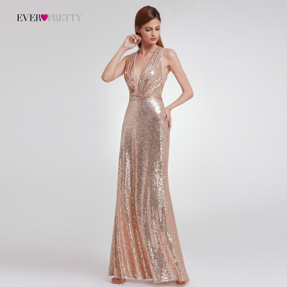 2020 Straight Modern Sequined Evening Dress Ever Pretty EP07109 Women'S Sexy Long Deep V-Neck Sleeveless Shiny Party Dresses