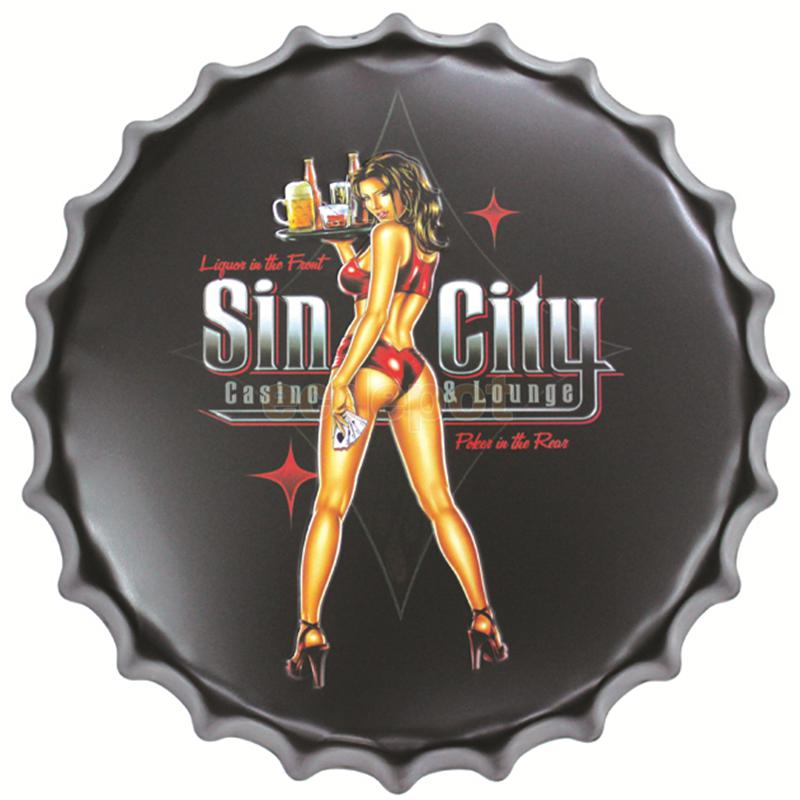 Diameter 40cm  Sexy Lady Vintage Metal AD Sign Tin Signs Bar/Car Garage Living Room Wall Decor Beer Bottle Cap Ajax