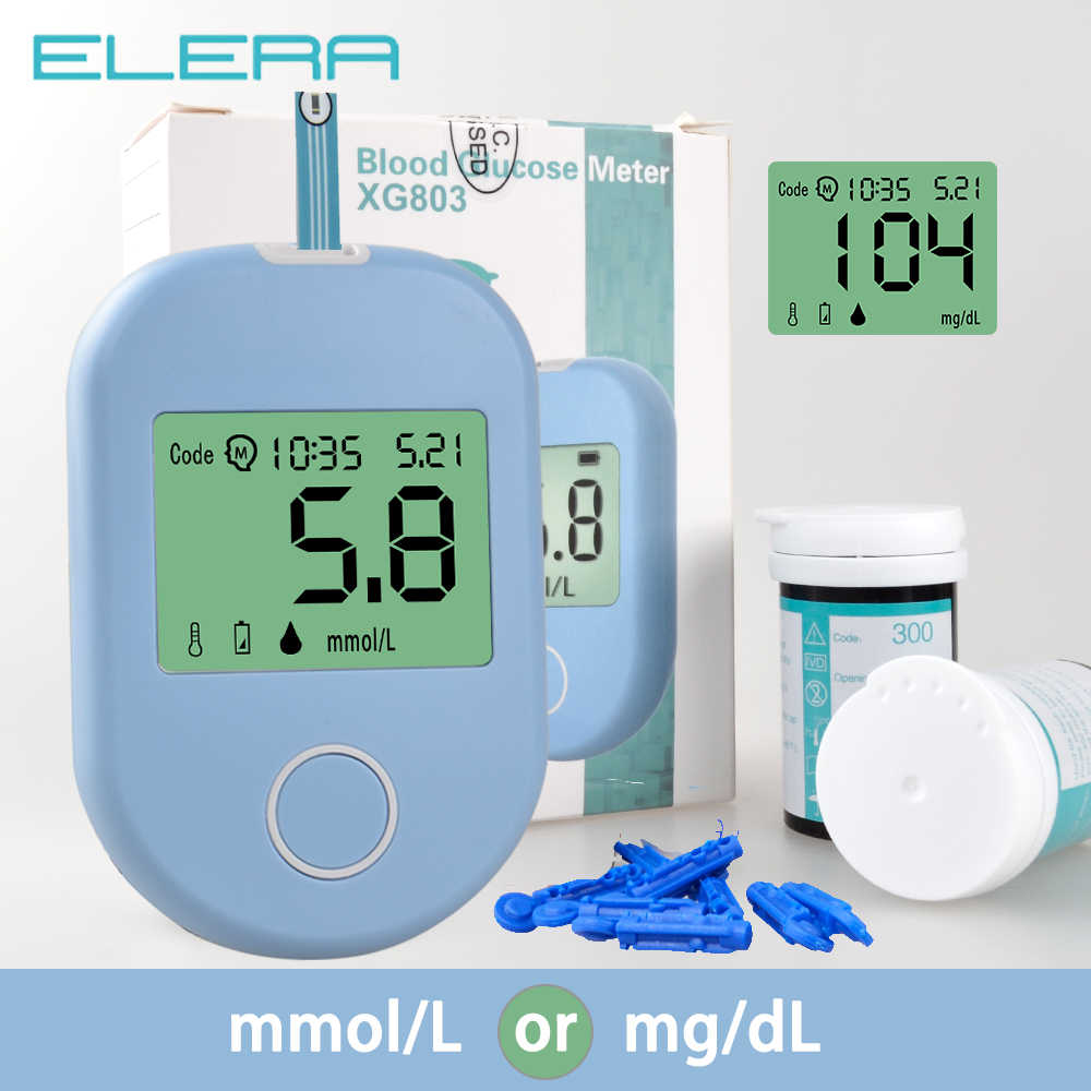 ELERA Blood Glucose meter Blood Sugar Monitor glycuresis Monitor for Glucometer Diabetic Test Strips Lancets