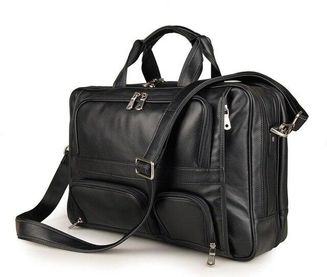 d1e1e116c4ba US $122.43 50% OFF|Vintage Genuine Leather Men's Briefcase Black Messenger  Bag Large Capacity Business Travel Bag for men 15.6