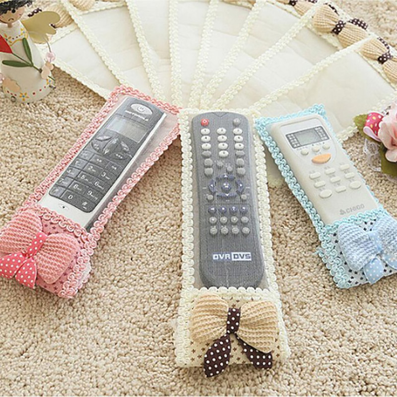 TV Remote Control Case Cover 1PC Knit Lace Remote Control Dust Protection TV Air Conditioning Set Textile Protection Bag S/M/L