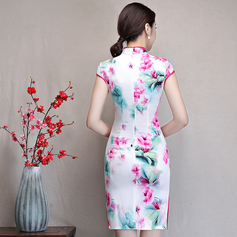 New Arrival Women's Satin Mini Cheongsam Fashion Chinese Style Dress Elegant Slim Qipao Clothing Size S M L XL XXL 368483 24