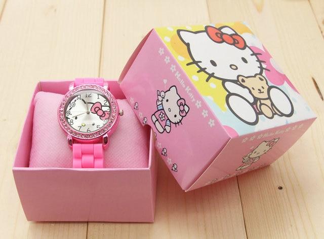 2016 Brand Cartoon Hello Kitty watches Women Silicone Jelly children girls dress