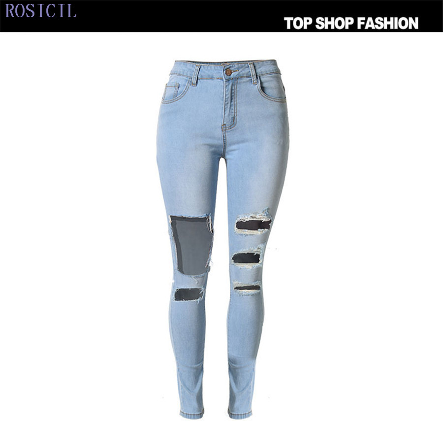 ROSICIL Women Jeans 2017 Fashion Washed Skinny Jeans Elastic Pencil Pants Stretch Ripped Holes Jeans Women