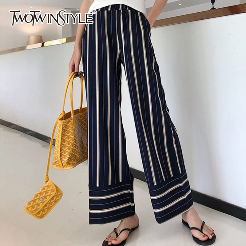 TWOTWINSTYLE Striped   Wide     Leg     Pants   Female High Waist Elastic Patchwork Pocket Long Trousers Summer Fashion OL Womens Clothing