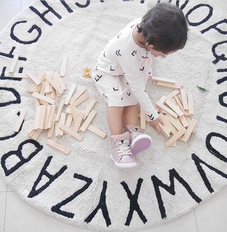 Nordique pépinière décor tapis de jeu tapis rond tapis de jeu pour Gym couverture tapis de sol enfants chambre décor de haute qualité Ins Style