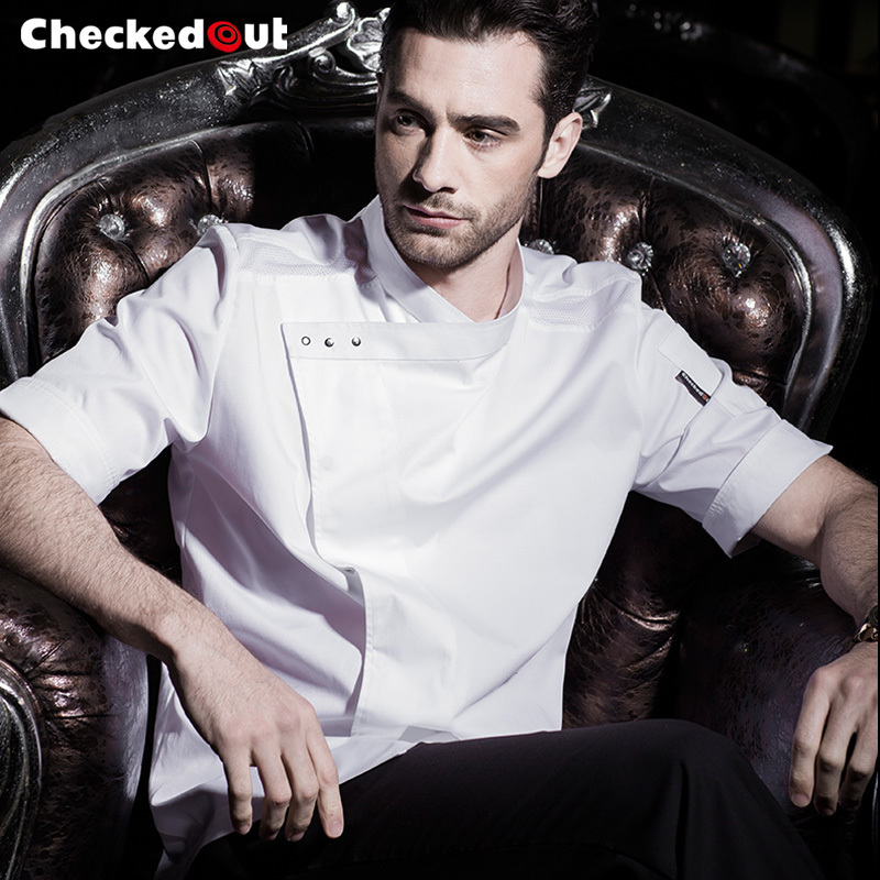 2017 summer fashion and quality cook serve Short Sleeve chef jacket Hotel Cook Clothing Hotel Kitchen