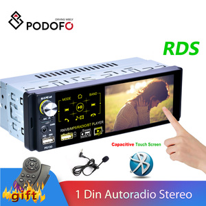 Podofo 1 Din Car Radio Autoradio Stereo Audio RDS Microphone 4.1 inch MP5 Video Player USB MP3 TF ISO In-dash Multimedia Player