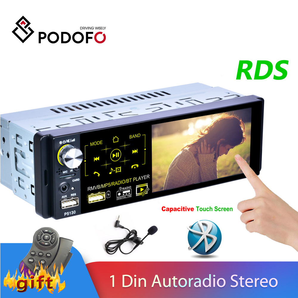 Podofo 1 Din Car Radio Autoradio Stereo Audio RDS Microphone 4.1 inch MP5 Video Player USB MP3 TF ISO In-dash Multimedia Player image