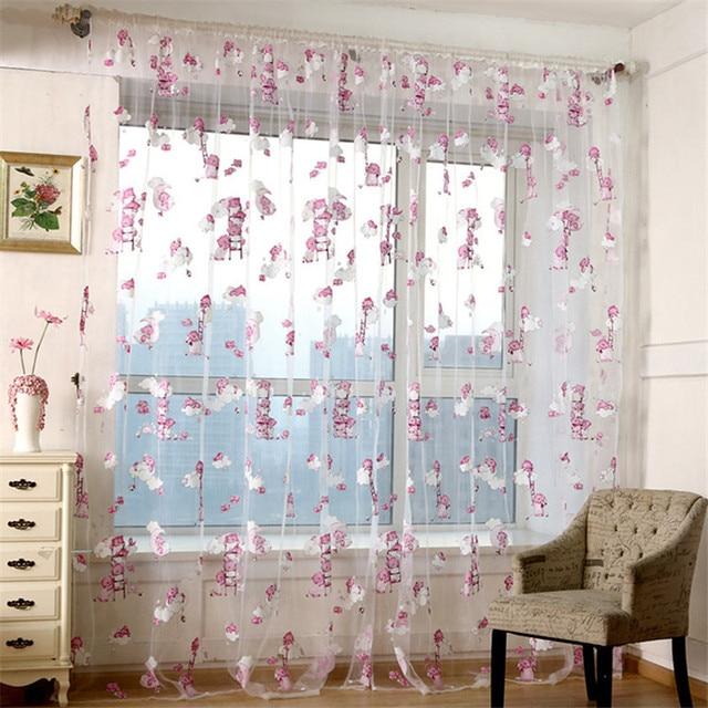 Nice Cute Bear Printed Window Screening Sheer Gauze Tulle Voile Curtain Blinds  For Kids Child Baby Bedroom