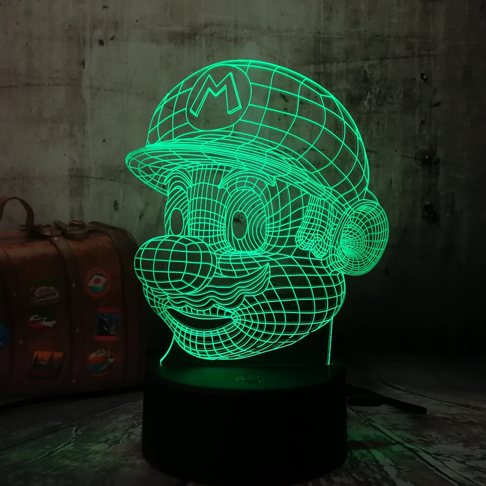 Q 3D LED Mario Night Light 7 Color Change Desk Table USB Touch RC Remote Novelty Children's Gift Toys Home Luminaria Decoration easter gift remote control led color change night light