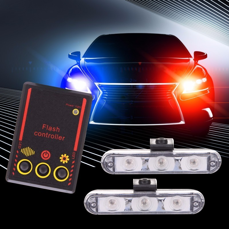 HOT SALE 2x3 Led Ambulance Police Light DC 12V Car Light Flashing Firemen Lights Blue Strobe Warning Light Side Car-Styling J4 luces led de policía